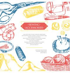 Sewing accessories - color vintage postcard vector