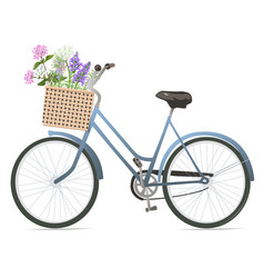 Bicycle with flowers in basket vector