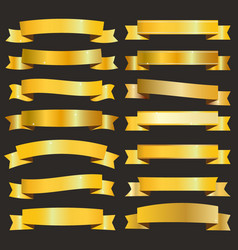 Golden ribbons pack vector