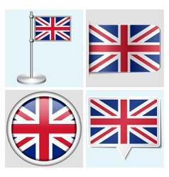 Great Britain flag - sticker button label vector image