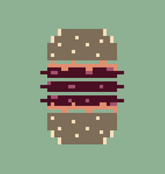 pixel icon in flat style burger vector image