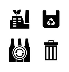 garbage simple related icons vector image