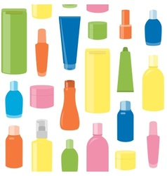 Seamless pattern with cosmetic bottles vector