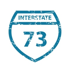 Grunge interstate 73 icon vector