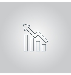 Growing bars graphic icon with rising arrow vector