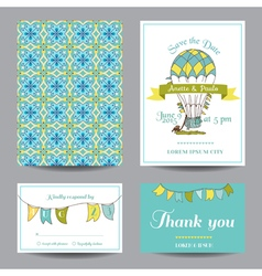 Wedding invitation card - air balloon theme vector