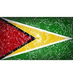 Flags guyana with broken glass texture vector