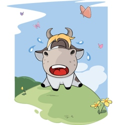 I small lost cow cartoon vector