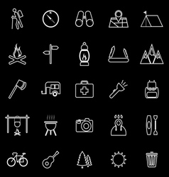 Trekking line icons on black background vector