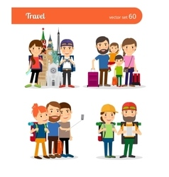 Traveling family people vector