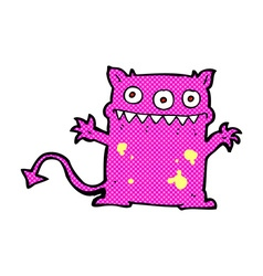 Comic cartoon little monster vector