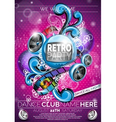 Retro party flyer design with speakers vector