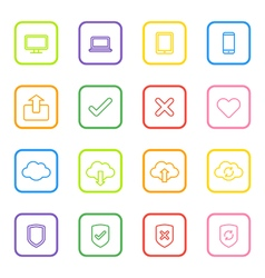 Colorful line web icon set with rounded rectangle vector