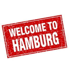 Hamburg red square grunge welcome to stamp vector