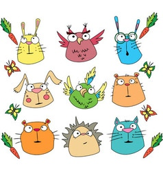 Funny cartoon animals set vector