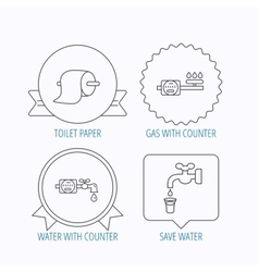 Toilet paper gas and water counter icons vector