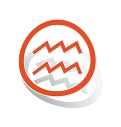 Aquarius sign sticker orange vector
