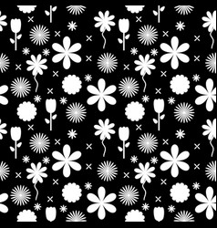 Black and white flowers background pattern vector
