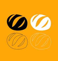 bread set black and white icon vector image