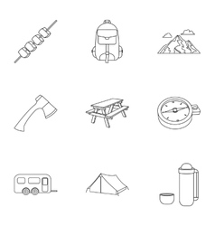 Camping set icons in outline style big collection vector