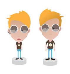 Characters female and male vector