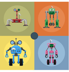Colorful iron mechanical robots set vector