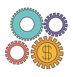 Colorful silhouette of economic development vector