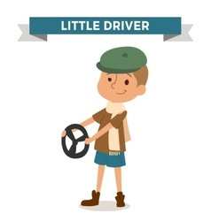 Driver boy with car rude isolated on white vector