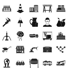 Extraction icons set simple style vector