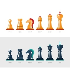 Flat design isolated named chess icons Collection vector image