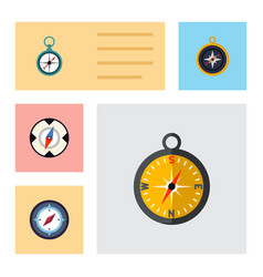 flat icon compass set of magnet navigator vector image vector image