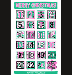 hand-drawn cartoon advent calendar vector image