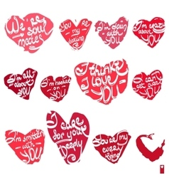 Hearts with the different declarations of love vector