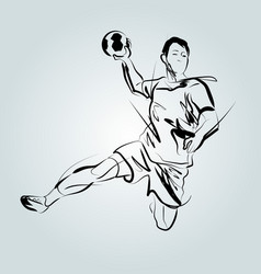 Line sketch of a handball player vector