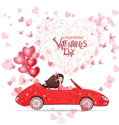 Lovely girl in a car with red heart air balloons vector