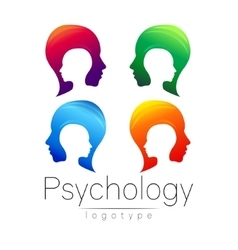 Modern head logo set of psychology profile human vector