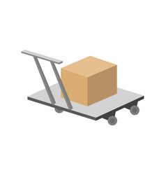 packing box on hand truck in flat design vector image