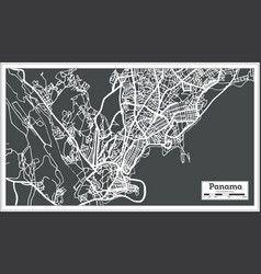 Panama city map in retro style outline map vector