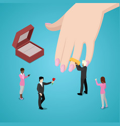 people putting wedding ring on brides hand vector image vector image