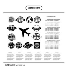 plane and globe icons set vector image