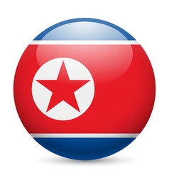 Round glossy icon of north korea vector image vector image