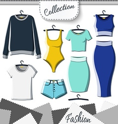 Set of colored clothes to create design on white vector