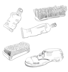 Sketch with shoes accessories vector