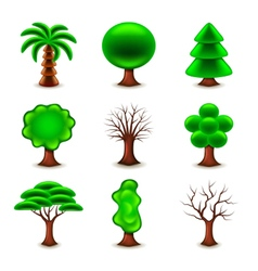 Tree forms icons set vector image
