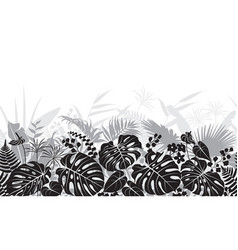 tropical leaves monochrome pattern vector image vector image