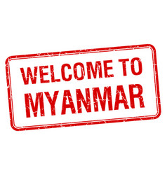 Welcome to myanmar red grunge square stamp vector