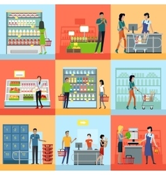 Set of Shopping in Supermarket Concepts vector image