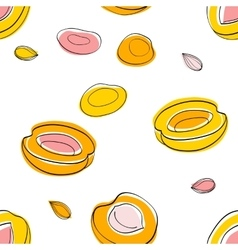 Seamless pattern apricot half and seeds vector