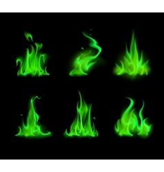 Set of green fire flame bonfire on background vector
