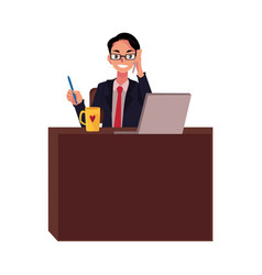 Businessman in glasses working at office desk vector